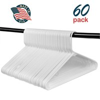 Hangorize Best Standard Everyday White Hangers, Made in USA Long Lasting Tubular Hangers, Value Pack of 60 (60 Count)