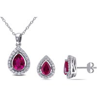"""Tangelo 4-7/8 Carat T.G.W. Created Ruby and Created White Sapphire Sterling Silver Halo Pendant and Earrings Set, 18"""""""