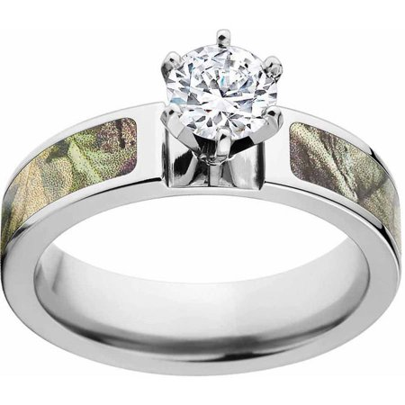 AP Green Women's Camo Engagement Ring Cobalt and 14kt White Gold with Polished Edges and Deluxe Comfort Fit - Glow In The Dark Engagement Ring