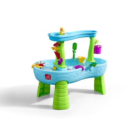 Step2 Rain Showers Splash Pond Water Table Kids Playset with 13 Piece Accessory (Sand Tray Activity Table)
