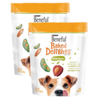 (2 Pack) Beneful Baked Delights Snackers Peanut Butter & Cheese Dog Treats, 9.5 Oz