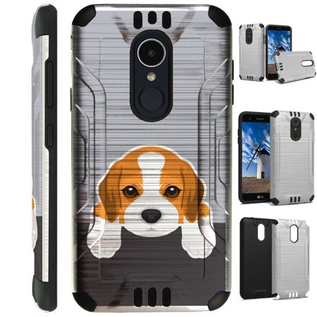 For LG Xpression Plus (2018)  Case Brushed Metal Texture Hybrid TPU Metallic Guard Phone Cover (Cute Dog (Best Brush For Beagle)