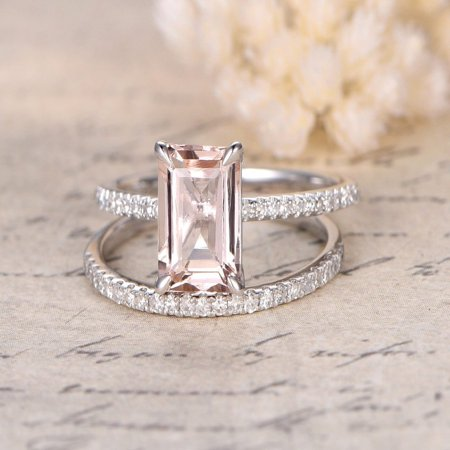 Vs2 Emerald Cut Diamond (Beautiful 1.5 Carat Emerald cut Real Morganite and Diamond Engagement Ring in 18k Gold Over Sterling Silver )
