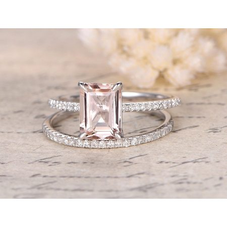 Beautiful 1.5 Carat Emerald cut Real Morganite and Diamond Engagement Ring in 18k Gold Over Sterling