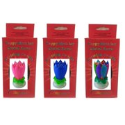 Exciting Candle Rotating Magic Sparkler Lotus Flower Birthday 3 Pack 1 Pink