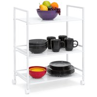 Best Choice Products 3-Tier Multifunctional Portable Metal Rolling Utility Storage Organizer Serving Bar Trolley Cart for Kitchen, Bathroom, Microwave w/ Removable Perforated Shelves, Locking Casters