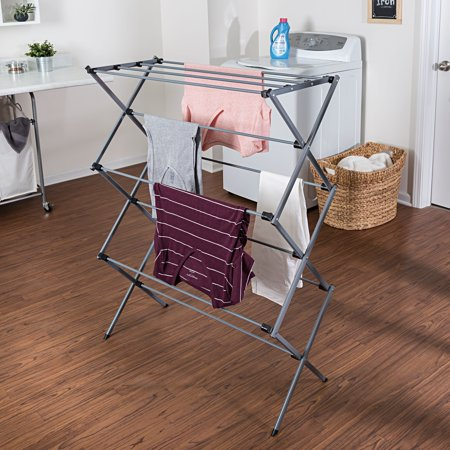 - Mainstays Deluxe Folding Metal Accordion Drying Rack, Silver