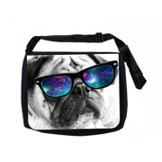 35e2a3f38064 Black and White Pug in Galaxy Glasses Black Laptop Shoulder Messenger Bag  and Small Wire Accessories