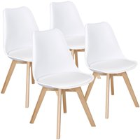 4-Set SmileMart Mid-Century Modern Padded Dining Chairs
