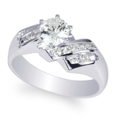 Ladies 6mm Round Fashion Ring (Ladies White Gold Plated 0.75ct Round CZ Fashion Ring Size 4.5)