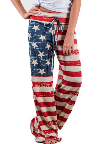 Womens Wide Leg Loose American Flag Printed Drawstring Pants Stretch Palazzo Yoga