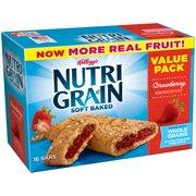 Kellogg's Nutri-Grain Value Pack, Soft Baked Strawberry Breakfast Bars, 1.3 oz, 16 ct