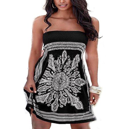 Womens Strapless Bandeau Boob Tube Summer Mini Dress Loose Tops Beach (Disco Mini Dress)