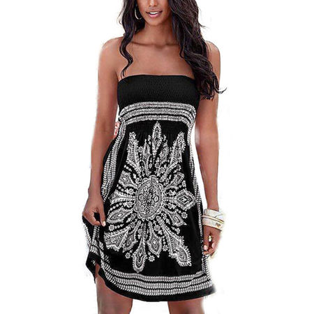 - Womens Strapless Bandeau Boob Tube Summer Mini Dress Loose Tops Beach Bathrobe