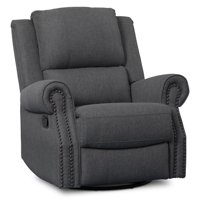 Delta Children Drake Nursery Glider Swivel Recliner, Charcoal