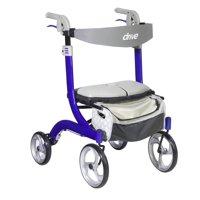 Drive Medical Nitro DLX Euro Style Rollator Rolling Walker, Sleek Blue