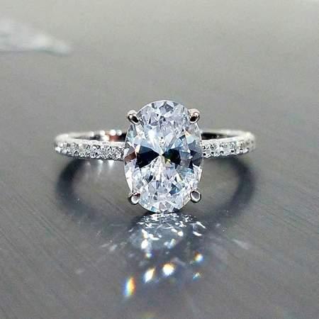 ON SALE - Alexandra 2CT Oval Petite French Pavé Crown IOBI Simulated Diamond Ring