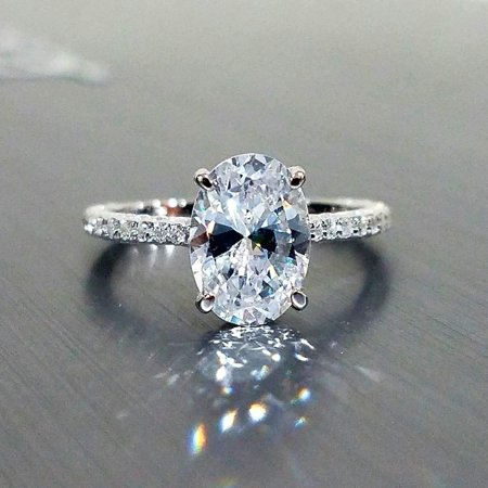 ON SALE - Alexandra 2CT Oval Petite French Pavé Crown IOBI Simulated Diamond Ring - Si1 Oval Diamond Solitaire