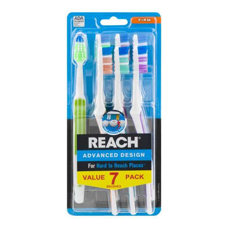 Advantage Glide Advance Clean Toothbrush - (2 pack) Reach Advanced Design Toothbrushes, Firm Bristles, 7 Count Each