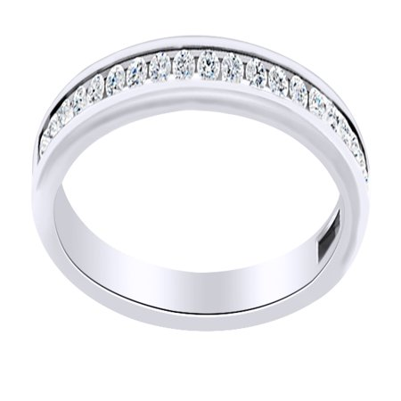 Round Cut White Natural Diamond Full Eternity Engagement Band Ring In 14K Solid White Gold (0.2 Ct) (White Gold Engagement Eternity Ring)
