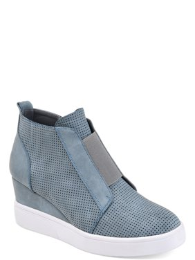 Womens Athleisure Laser-cut Side-zip Sneaker Wedges
