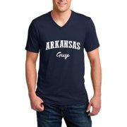 J_H_I AR Guy Natural Little Rock Flag Map Home of University of Arkansas UARK UA Men V-Neck Shirts Ringspun