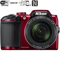 Nikon COOLPIX B500 16MP 40x Optical Zoom Digital Camera with wifi - Red (Certified Refurbished)