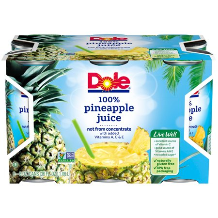 - (2 pack) DOLE 100% Pineapple Juice 6-6 fl. oz. Cans