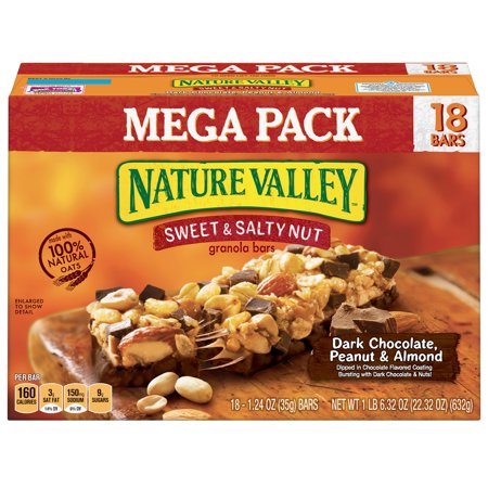 Nature Valley Sweet & Salty Nut Dark Chocolate Peanut & Almond Granola Bars 18 Count, 1.24 OZ