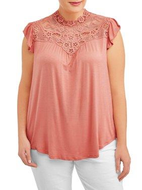 Women's Plus Size Delicate Lace Front Blouse