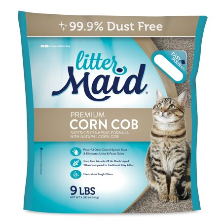 (2 Pack) Littermaid Corn Cob Natural Clumping Cat Litter, 9-lb