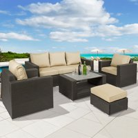 Best Choice Products 7-Piece Outdoor Patio Wicker Sectional Furniture Sofa Set w/ Table, Cushions, Ottoman - Brown
