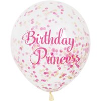 "12"" Birthday Princess Pink and Gold Confetti Balloons, 6ct"