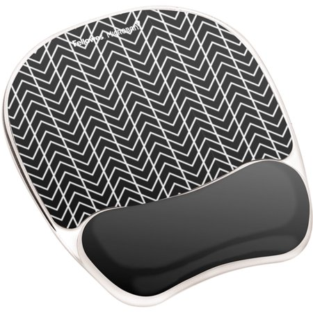 Fellowes, FEL9549901, Photo Gel Mouse Pad Wrist Rest with Microban® - Black Chevron, 1,
