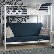 Walker Edison White Twin Over Futon Metal Bunk Bed