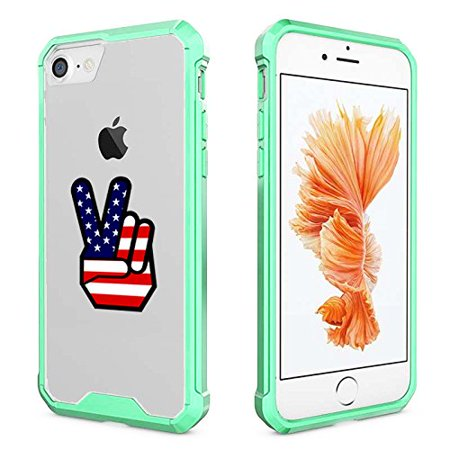 For Apple iPhone Clear Shockproof Bumper Case Hard Cover Peace Sign American Flag (Mint For iPhone 7