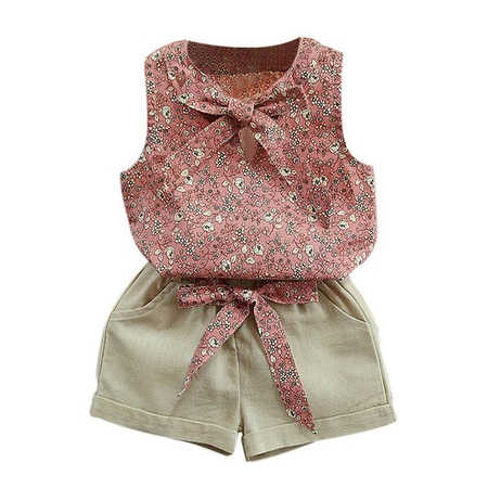 Esho Kids Baby Girl Summer Clothes Set Floral T-Shirt Tops+Shorts Outfits (Toddler Pirate Outfit)