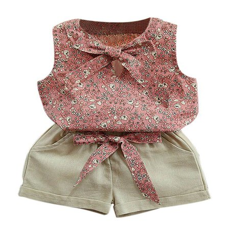 Esho Kids Baby Girl Summer Clothes Set Floral T-Shirt Tops+Shorts Outfits - Cute Baby Girl Thanksgiving Outfit