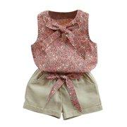 150328e4b Esho Kids Baby Girl Summer Clothes Set Floral T-Shirt Tops+Shorts Outfits