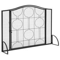 Best Choice Products Single-Panel Living Room Heavy-Duty Steel Mesh Fireplace Screen Decor w/ Locking Door - Black