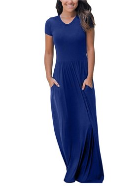a70cccbbcfb Product Image 2018 Loose Long Maxi Dress Casual Plain O-Neck Short Sleeve  FashionParty Boho Solid Dresses