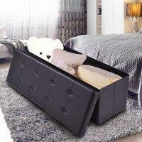 Costway 45''x15''x15'' Large Folding Storage Faux Leather Ottoman Pouffe Box Stool Black