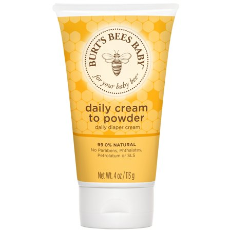 (2 pack) Burt's Bees Baby Daily Cream to Powder, Talc-Free Diaper Rash Cream - 4 oz