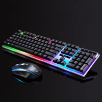 TSV Gaming LED Wired Keyboard and Mouse Combo with Emitting Character Usb Mouse Multimedia Keys Rainbow Backlight Mechanical Feeling For Desktop Computer, Laptop