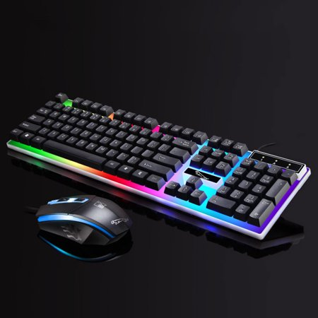 TSV Gaming LED Wired Keyboard and Mouse Combo with Emitting Character Usb Mouse Multimedia Keys Rainbow Backlight Mechanical Feeling For Desktop Computer, - Ps2 Multimedia Keyboard