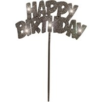 "Plastic Flashing ""HAPPY BIRTHDAY"" Cake Topper, 8.5 in, Black, 1ct"