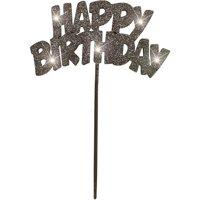 "Plastic Flashing ""HAPPY BIRTHDAY"" Cake Topper, 8.5 in, Black, 1ct"