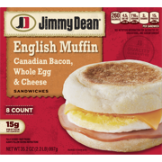 Jimmy Dean® Canadian Bacon, Whole Cracked Egg & Cheese English Muffin Sandwiches, 8 Count (Frozen)