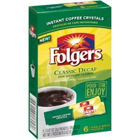 (4 Pack) Folgers Decaf Classic Roast Instant Coffee Single-Serve Packets, 0.07 Oz, 6 Count