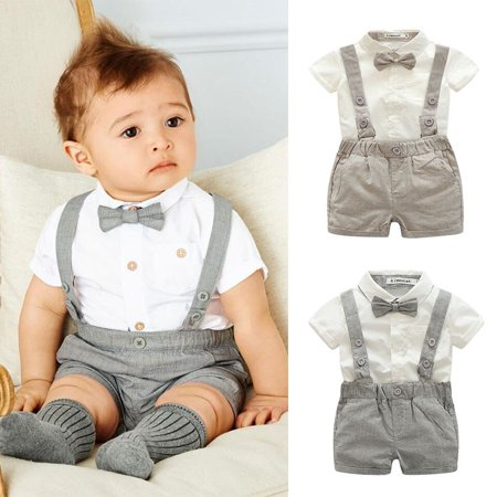 Kacakid Baby Boy Child Toddler Gentleman Suit +Bow Tie+Suspender Trousers Pants Suit Suspenders Style Short Sleeve Shirt + Short 2Pcs Set - Easter Baby Boy Outfits